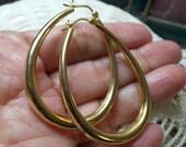 Vintage Sterling Silver SIGNED Gold Plate  LargeTeardrop Hoop 8.9g Dangle Earrings FREE Shipping