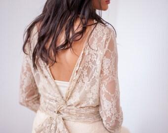 Backless wedding dress, bohemian wedding dress, lace wedding dress, champagne wedding dress, lace dress, marriage, backless wedding dresses