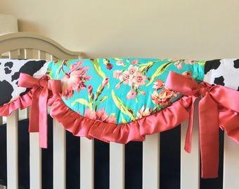 Floral Rail Cover, Crib Rail Cover, Coral Teething Rail Guard, Cow Crib Rail Guard, Bumperless Crib Bedding, Crib Rail Guard for Girls