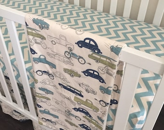 Classic Cars and Village Blue Chevron Bedding SWATCH SET, Make sure fabrics are exactly what you want before you order!