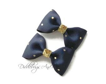 Navy and Gold Tuxedo Hair Bows, Navy Tuxedo Bows, Girls Navy Hair Bows, Gold Polka Dot Hair Bows, Piggy Tail Bows, Nautical Piggy Tail Bows