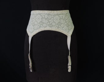 50s cream lace pin-up girdle with garters Spantrol garter belt, 32