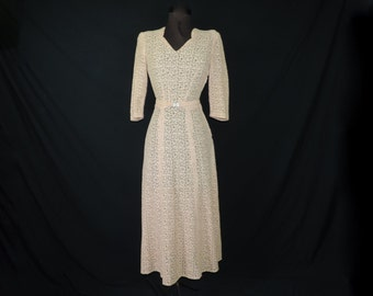 1940's pink lace dress sheer lace antique wedding rhinestone belt formal gown small