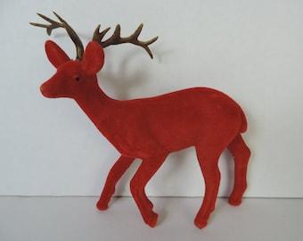 vintage red flocked reindeer kitsch plastic deer figurine vintage Christmas decoration ornament