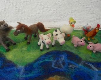 Waldorf, Farm Animals, Horse, Cow, Pig, Cockerel, Goose, Animals for Play Scape, Animals for Play Mat, 5 farm animals, needlefelted animals