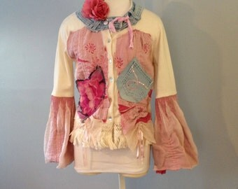 Pretty in Pink Wearable art Tunic by Gina Louise