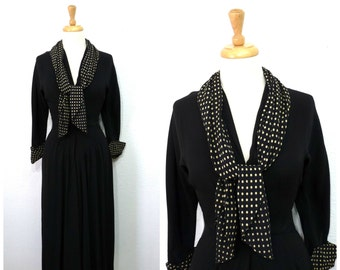 1940's Black Dress Polka dots scarf Crepe dress David Westheim New York