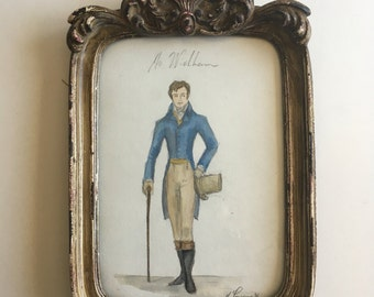 Mr.Wickham. Original Watercolor. Framed. Pride and Prejudice.