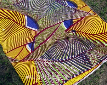 West African Wax Cotton Print Fabric - African Ankara Fabric - Kete Pa