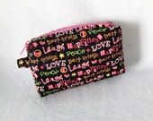 Small Cosmetic Quilted  Vinyl Lined Zipper Top Peace Love Pink Black