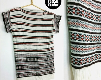 Cute Vintage 70s Boho Nordic Style Sweater Top with Brick Red, Green, Black and Red Stripes!