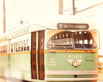 Vintage CTA Bus, Chicago Photograph, Halstead Broadway, wall decor, green, orange, beige, office art, retro urban print, boys room, playroom