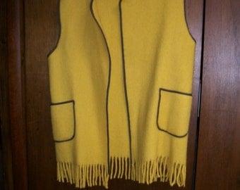Sale Boho Yellow Vest  Fringed  Wool Soviet Vintage 70s sz L/XL Retro Hippie