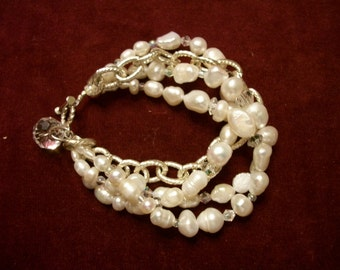 PEarl Bracelet + Earrings 3 strands , silver chain, rhinestones  Bridal  Set