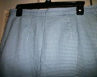 Liz Claiborne  Skort Skirt/Shorts Blue gingham cotton/spandex   sz 12