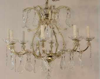 Vintage 'crystal' chandelier with lots of crystals - The Shabby Home