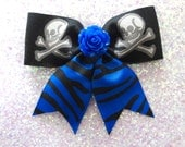 Psycho Rose Skull and Crossbone Blue Zebra Hair Bow - Psychobilly - Retro - 50s