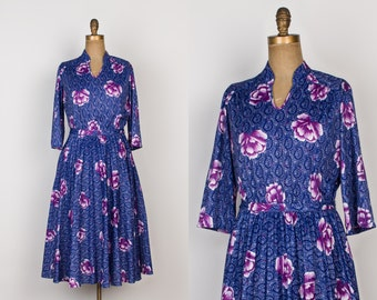 Vintage Blue Floral Dress - Full Skirt Dress with Purple Peony Flower Print - M / L