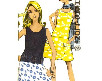 1960s Summer Mini Dress Pattern Herbillon 3074 B35