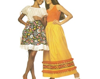 70s Super Simple to make Mini or Maxi Skirt Pattern Simplicity 9232 For Beginners