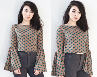Chesnut Brown Triangle Bell Sleeve Crop Top XS S M L XL XXL