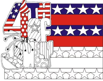 4th of July  Adult coloring page
