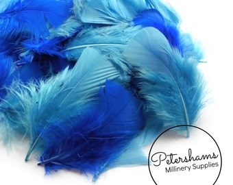 Pack of Turkey Flats Feathers for Millinery Hat Trimming and Crafts (50 Feathers) - Blue Mix