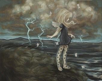 Fairy girl lowbrow misfit fantasy art print big eye pop surreal - On The Edge