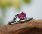 Rough Ruby gemstone ring-twig ring-sterling silver-branch organic raw-handmade-July Birthstone-made to order