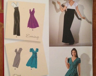 Day or Evening Dress Pattern Uncut FF Simplicity 2549 size 14 16 18 20 22 m l xl plus 36 38 40 42 44 bust