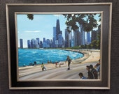 Chicago Skyline - 30x24in Original Oil Painting