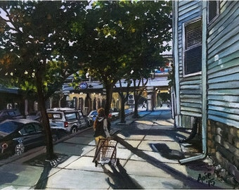CTA Train Stop Original Oil Painting - 14x11in Painting of Edgewater, Chicago