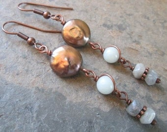 Aura - Labradorite, Pearl and Amazonite earrings ~ Antiqued copper ~ Bohemian style jewelry
