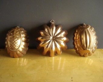 Mini Copper Trio - Three Vintage Mini Jello Molds or Cake Pans - Fluted Copper Baking Pan - Taurus Made in Portugal