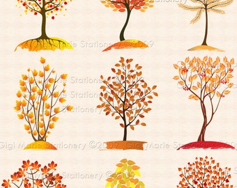 SALE! Instant Download AUTUMN FALL Clipart - Fall Trees - Autumn Trees - Digital Clip Art Scrapbook - Colored Leaves