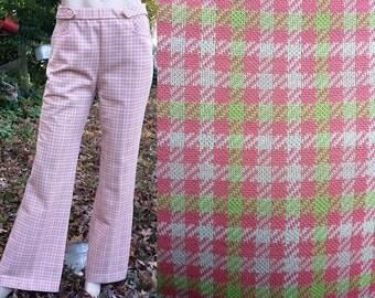 45% OFF Womens 70s Pants by Alex Coleman, 70s Costume, Vintage Bell Bottoms, Houndstooth Pants, Vintage Pants, Hip Huggers, Vintage Costume