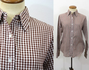 Gingham shirt women etsy for White shirt brown buttons