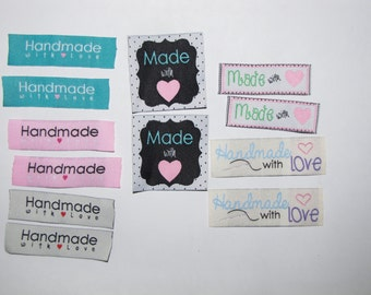 12 Handmade with love woven label tag clothes fabric crafts craft scrapbooking scrapbook papercrafts sew on heart labels card making