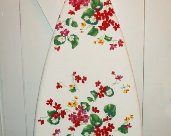 "Gorgeous One-of-a-Kind Ironing Board Cover from Wilendur Rare Red ""Alpine Meadow"" Vintage Tablecloth"
