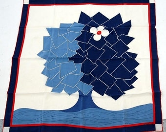 Gres silk scarf geometric tree with flower blue white red 1980s modern art scarf large square