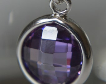 REDUCED PRICE - Sterling Silver and Amethyst Cubic Zirconia European Charm Dangle Charm - Fits all European Charm Bracelets