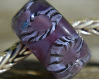Silver Core Options - SALE - Purple Handmade Lampwork Glass European Charm Bead - Fits all charm bracelets