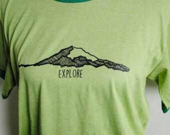 Mt. Rainier Tshirt - Unisex Ringer Tshirt - Brown or Green - Washington Tshirt - I love Washington - Washingtonian