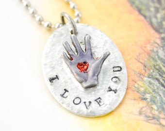 Kissing Hand Soldered Handstamped Necklace - Molten Pendant, Rustic Necklace, Gift for Mom, Gift for Daughter, Leaving Home, College Gift