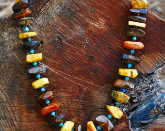 Natural Amber chunky faceted necklace with Turquoise