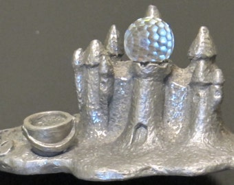 Vintage Miniature Pewter Figurine Sand Castle Topped with Faceted Crystal Ball Bucket and Shovel Beach Play Terrarium Diorama Fairy Garden