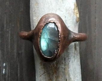 Labradorite Ring Raw Crystal Ring Copper Size 6 Stacking Ring Rough Stone Jewelry Cocktail Ring