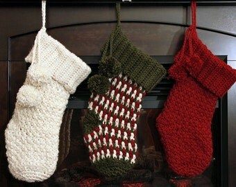 Crochet PATTERN Brighton Christmas Stocking Crochet Christmas Stocking Pattern One Size