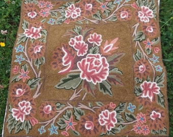 """Beautiful Hand made Crewel Kashmir Cushion Covers. Two.  18 x 17"""" . 46 cm x 43 cm. Embroidered."""