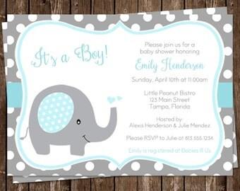 Elephant, Baby Shower Invitations, Sprinkle, Boys, Blue, White, Polka Dots, 10 Printed Invites, FREE Shipping, Little Peanut, Custom
